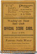 Miscellaneous, 1899 WASHINGTON BASEBALL CLUB SCORE CARD. This early example of ...