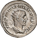 Ancients:Roman Imperial, Ancients: Philip I (AD 244-249). AR antoninianus (22mm, 4.48 gm, 7h). NGC AU 5/5 - 4/5. ...