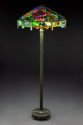 Glass, Tiffany Studios Leaded Glass and Patinated Bronze Nasturtium Lattice Floor Lamp, cir...