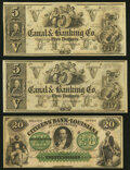 Obsoletes By State:Louisiana, New Orleans, LA- New Orleans Canal and Banking Company $5 18__, Two Remainders Crisp Uncirculated;. Shreveport, LA- Ci... (Total: 3 notes)