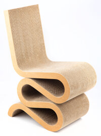 Frank Gehry (b. 1929) Wiggle Chair, designed 1972, Vitra Corrugated cardboard 33 x 14 x 21 inches (83.8 x 35.6 x 53.3