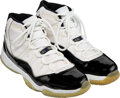 """Basketball Collectibles:Others, 1995-96 Michael Jordan Game Worn & Signed """"Air Jordan 11"""" Sneakers with Will Perdue Provenance...."""