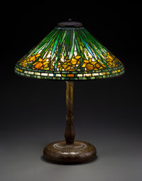 Tiffany Studios Leaded Glass and Patinated Bronze Daffodil Table Lamp, circa 1910