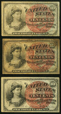 Fractional Currency:Fourth Issue, Fr. 1258 10¢ Fourth Issue (2) Fine;. Fr. 1261 10¢ Fourth Issue Very Fine.. ... (Total: 3 notes)