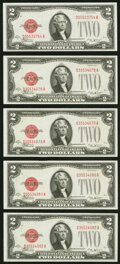 Small Size:Legal Tender Notes, Fr. 1506 $2 1928E Legal Tender Notes. Five Examples. Choice Crisp Uncirculated.. ... (Total: 5 notes)