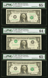 "Inverted Third Printing Error with ""Bookend ""Notes. Fr. 1913-L $1 1985 Federal Reserve Notes. PMG Choice Uncir..."