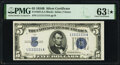 Near Solid Serial Number 11111114 Fr. 1652 $5 1934B Silver Certificate. PMG Choice Uncirculated 63 EPQ*