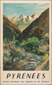 """Pyrenees (National Society of French Railroads, 1946). Rolled, Fine. French Travel Poster (24.5"""" X 39.25""""). Mi..."""