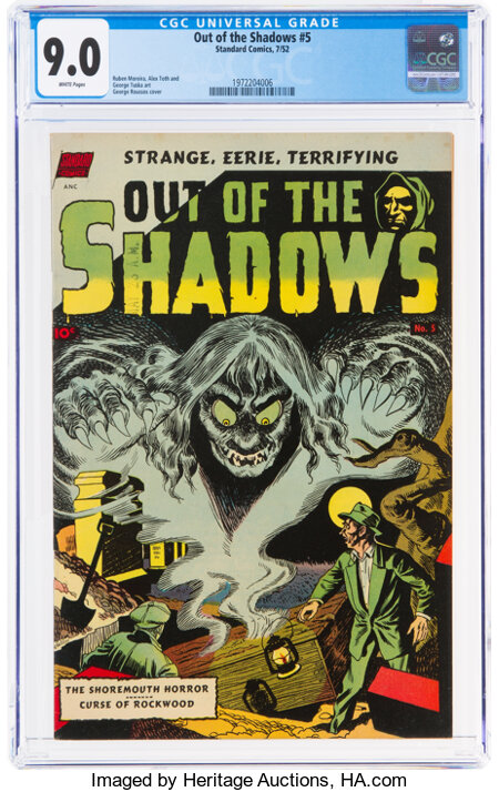 Out of the Shadows #5 (Standard, 1952) CGC VF/NM 9.0 White pages....