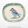 Sculpture, Pablo Picasso (1881-1973). Oiseau polychrome, 1947. White earthenware ceramic plate, partially engraved, with colored en...