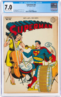 Superman #42 (DC, 1946) CGC FN/VF 7.0 Off-white to white pages