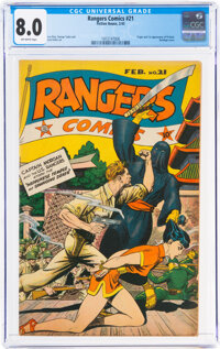 Rangers Comics #21 (Fiction House, 1945) CGC VF 8.0 Off-white pages