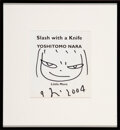 Works on Paper, Yoshitomo Nara (b. 1959). Untitled Drawing from Slash with a Knife, 2004. Marker on paper and soft cover book. 8-1/4... (Total: 2 Items)