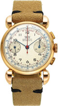 Timepieces:Wristwatch, Britix, 18k Pink Gold Chronograph, Oversized Lugs, Ref. 3914, Circa 1940's. ...