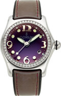 "Timepieces:Wristwatch, Corum, Steel & Diamond ""Bubble"" Watch, Lilac Dial"