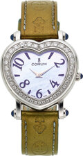 "Timepieces:Wristwatch, Corum, Lady's ""Heartbeat"" Mother-Of-Pearl, Steel And Diamo..."