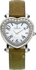"Timepieces:Wristwatch, Corum, ""Heartbeat"" Blue Mother-Of-Pearl, Diamond Wristwatch. ..."