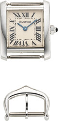 Timepieces:Wristwatch, Cartier, Ref. 2403 Lady's 18k White Gold Tank Francaise. ...