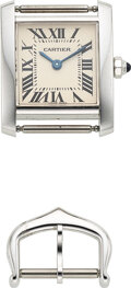 Timepieces:Wristwatch, Cartier, Ref. 2403, 18k White Gold Lady's Tank Francaise. ...