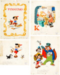 Animation Art:Production Drawing, Pinocchio Storybook Illustrations by Campbell Grant Original Art Group of 4 (Walt Disney, 1948). ... (Total: 4 Items)