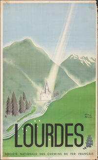 """Lourdes (National Society of French Railroads, 1940s). Rolled, Fine. French Travel Poster (24.25"""" X 39.5"""") Her..."""