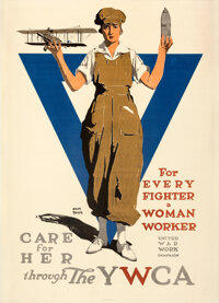"""World War I Propaganda (YWCA, 1919). Very Fine- on Linen. Poster (30"""" X 41.5"""") """"For Every Fighter a Woman..."""