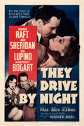 """Movie Posters:Crime, They Drive by Night (Warner Bros., 1940). Fine- on Linen. One Sheet (27"""" X 41"""").. ..."""