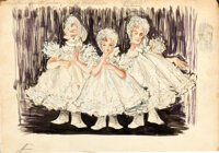 The Band Wagon: Triplets Sequence (MGM, 1952). Fine/Very Fine. Original Mixed Media Production Artwork on Illustration B...