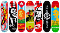 Frank Kozik X Ultraviolence Skateboards (set of 7), 2007 Offset lithographs in color on skate decks
