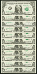 Complete District Set Fr. 1907-A*-L* $1 1969D Federal Reserve Star Notes. Eleven Examples. Choice Crisp Uncirculated...
