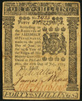 Colonial Notes:Pennsylvania, Pennsylvania July 20, 1775 40s Very Fine-Extremely Fine.. ...