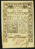 Colonial Notes:Rhode Island, Rhode Island May 1786 6d Very Fine.. ...