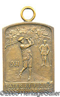 "Miscellaneous, 1931 PATER ET FILIUS GOLF TOURNAMENT AWARD. 1-1/2"" BY 2-5/8"" emb..."