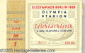 """Miscellaneous, 1936 OLYMPIAD TICKET. 4 1/4 x 2 3/4"""" multicolored ticket..."""