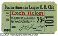 Miscellaneous, 1916 BOSTON RED SOX TICKET STUB. The 1916 Red Sox won the Americ...