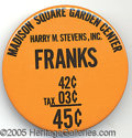 Miscellaneous, 1940'S MADISON SQUARE GARDEN VENDORS BUTTON. Harry M. Stevens ra...