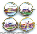 General Historic Events:World Fairs, ENAMELED PINBACK SCENES ST LOUIS WORLD'S FAIR 1904. Sensational ...