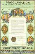 General Historic Events:World Fairs, FRAMED PROCLAMATION PRES OF US MCKINLEY ROOSEVELT ST. LOUIS WORL...