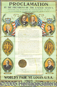 FRAMED PROCLAMATION PRES OF US MCKINLEY ROOSEVELT ST. LOUIS WORLD'S FAIR. P Magnificent, framed proclamation by...