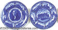 General Historic Events:World Fairs, THREE DIFFERENT STAFFORDSHIRE ENGLAND ST. LOUIS MO BLUE PLATES. ...