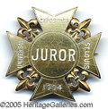 "General Historic Events:World Fairs, 1904 WORLD'S FAIR ""JUROR"" GILT NICKEL BADGE. Rare incised white ..."