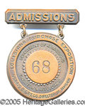 General Historic Events:World Fairs, DEPT OF ADMISSION 1904 WORLD'S FAIR COOPER BADGE. Official badge...