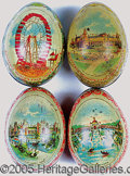 General Historic Events:World Fairs, LOT OF 4 DIFFERENT LITHOGRAPHED TIN 'EGGS' ST. LOUIS WORLD'S FAI...