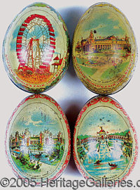 LOT OF 4 DIFFERENT LITHOGRAPHED TIN 'EGGS' ST. LOUIS WORLD'S FAIR. Lot of four lithographed tin eggs with various scenes...