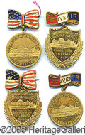 General Historic Events:World Fairs, LOT OF 4 BRASS PENDANTS-BADGES 1904 ST. LOUIS WORLD'S FAIR. Four...