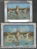 General Historic Events:World Fairs, 'PEARLIZED' PICTURES ALUMINUM FRAMED CASCADE GARDENS 1904 WORLD'...