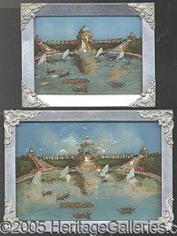 "'PEARLIZED' PICTURES ALUMINUM FRAMED CASCADE GARDENS 1904 WORLD'S FAIR. Two different sizes of the ""pearlized""..."