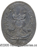 General Historic Events:World Fairs, METAL SOUVENIR HANGING PLAQUE 1904 WORLD'S FAIR WITH UNCLE SAM. ...