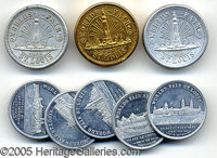 3 ST. LOUIS WORLD'S FAIR MONUMENT COIN HOLDERS & 5 COINS. Three different embossed Monument coin holders, each with...