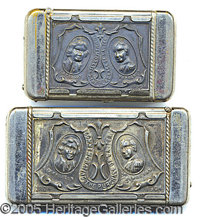 SILVERED BRASS MATCH SAFES - 2 DIFFERENT BLDGS - ST. LOUIS WORLD'S FAIR. Two different silvered/brass match safes from t...